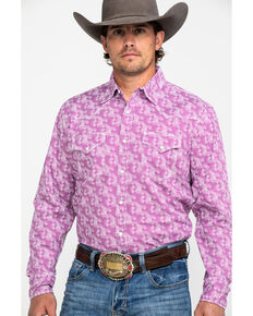 Wrangler 20X Men's Advanced Comfort Geo Print Long Sleeve Western Shirt , Purple, hi-res