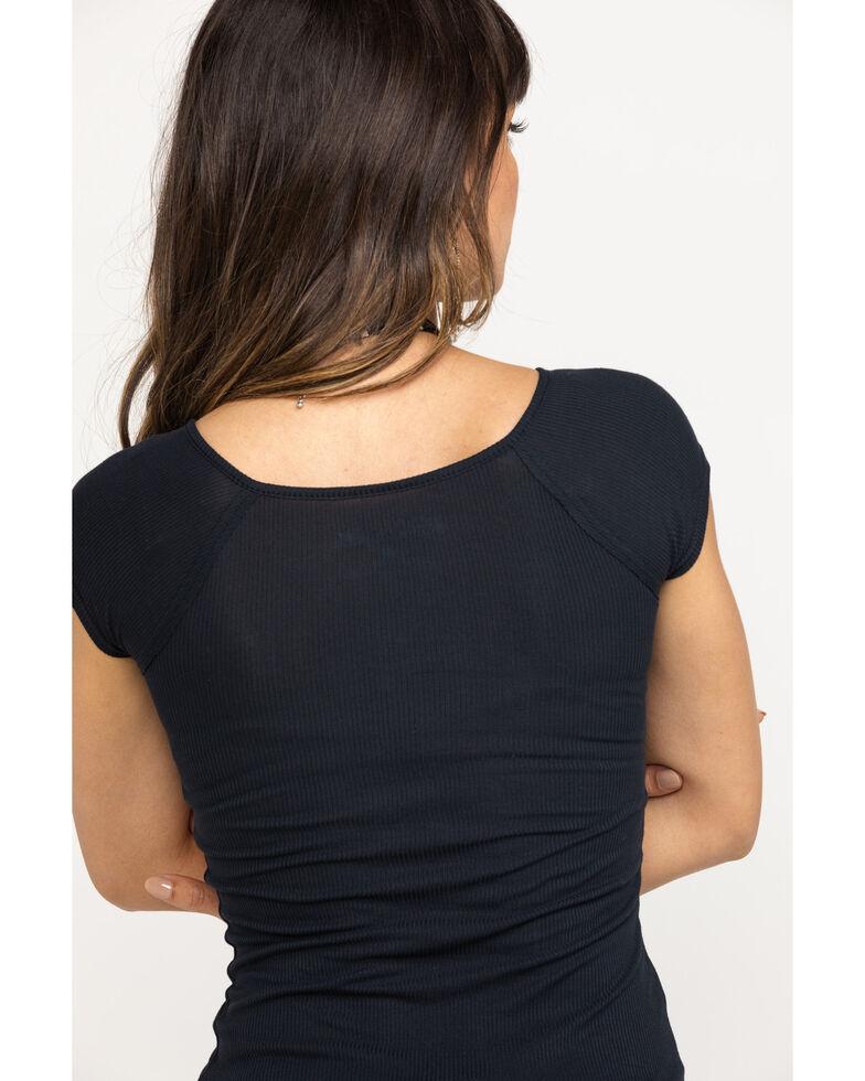 Shyanne Women's Lace Up Short Sleeve Tee, Black, hi-res