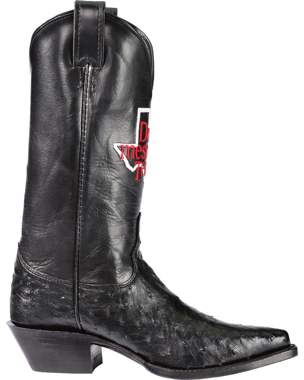 "Justin ""Don't Mess with Texas"" Full Quill Ostrich Cowgirl Boots - Pointed Toe, Black, hi-res"