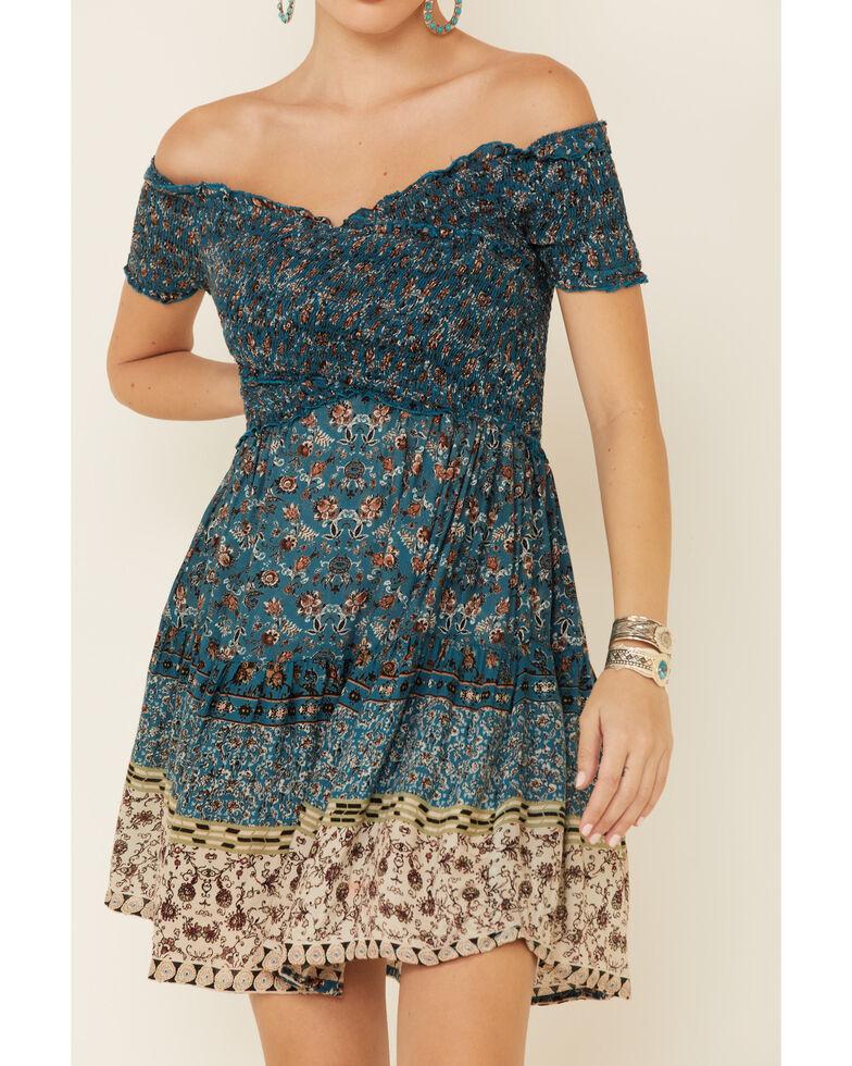 Angie Women's Smocked Border Print Dress, , hi-res