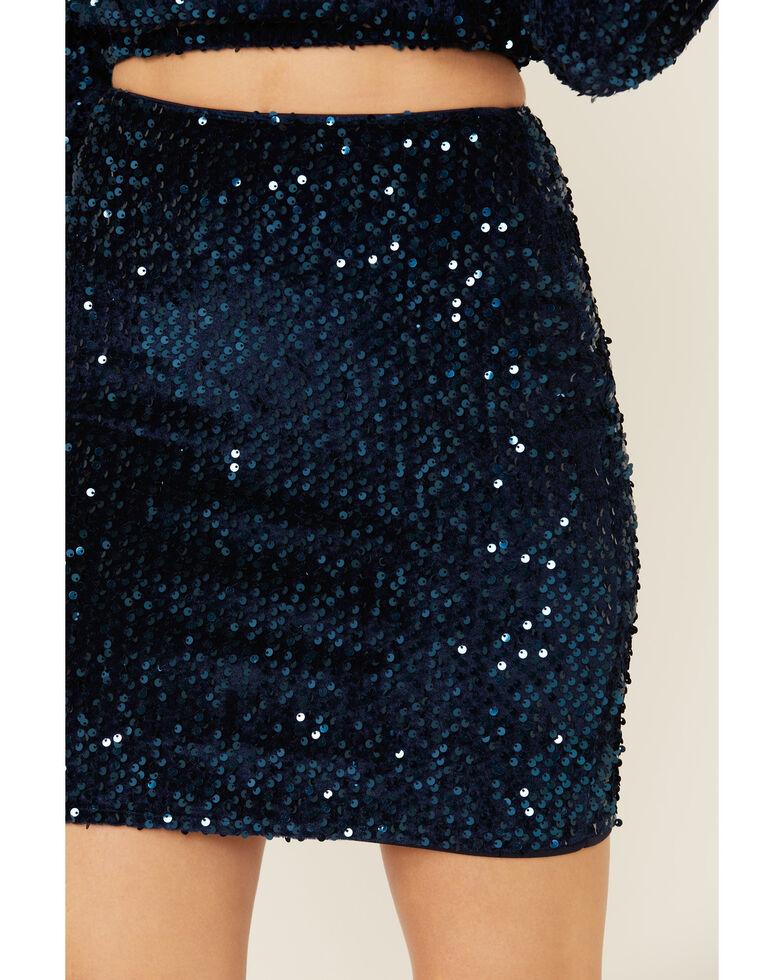 Molly Bracken Women's Solid Sequin Skirt , Navy, hi-res