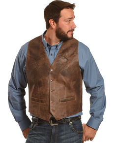 Scully Men's Brown Lambskin Leather Western Vest , Brown, hi-res