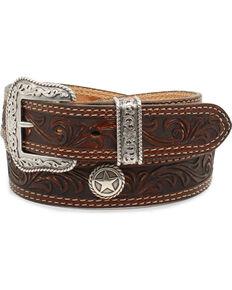 Nocona Men's San Antonio Floral Embossed Star Concho Leather Belt, Brown, hi-res