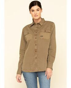Ariat Women's Khaki Rebar Washed Twill Long Sleeve Work Shirt, Beige/khaki, hi-res