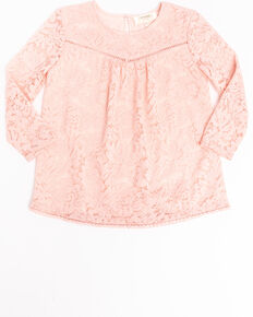 Shyanne Girls' Pink Allover Lace Tunic Top, Light Pink, hi-res