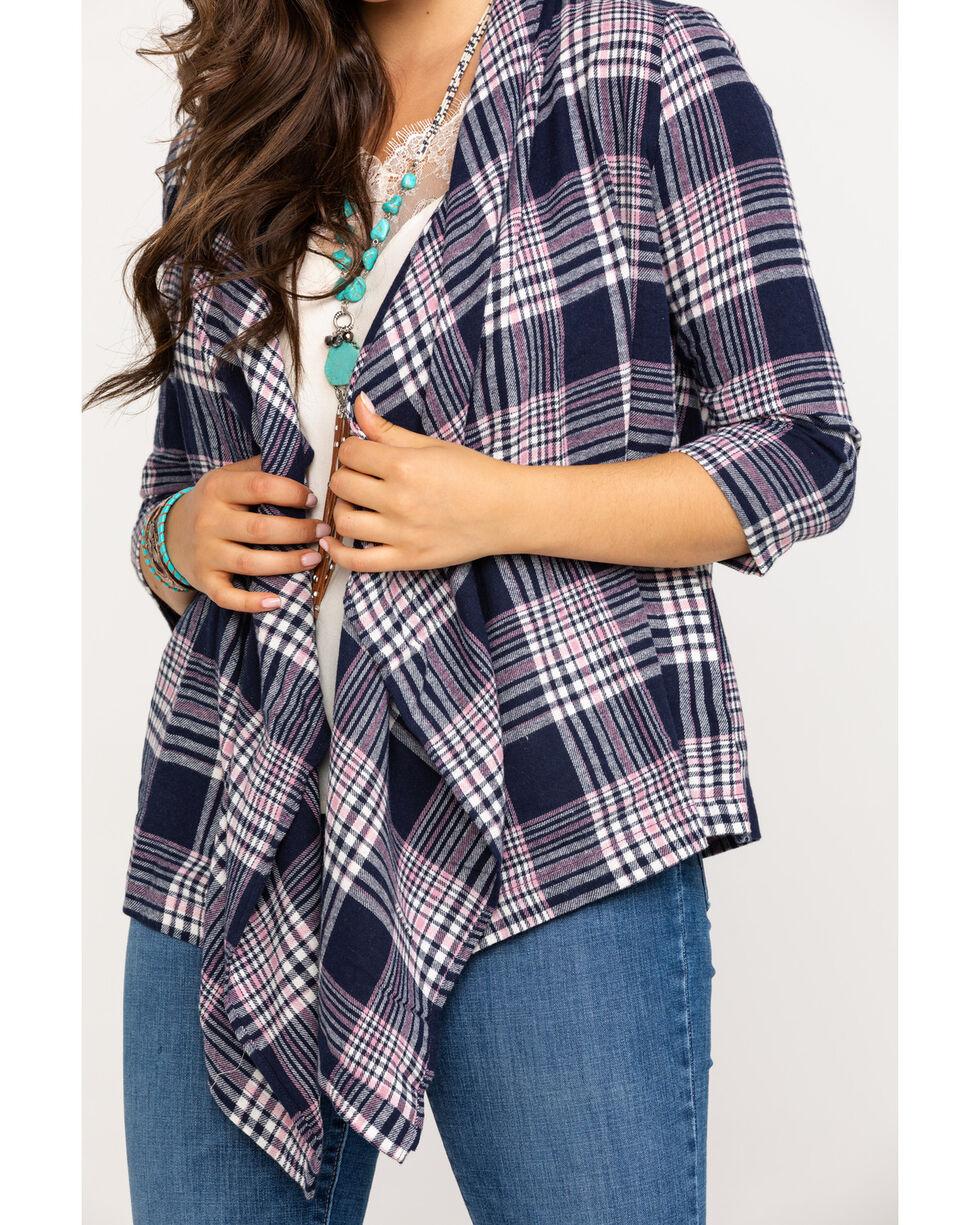 Derek Heart Women's Flannel Plaid Draped Cardigan, Multi, hi-res