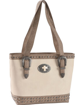 Shyanne Women's Cross Concho Western Tooled Concealed Carry Tote, Ivory, hi-res
