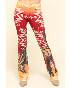 Ranch Dress'n Women's Rust Buckin' Horse Bootcut Jeans , Rust Copper, hi-res