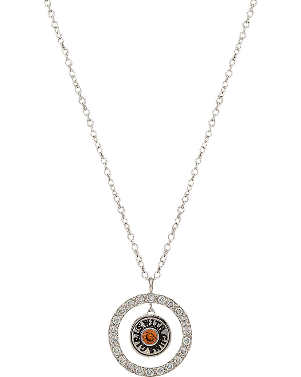 Girls With Guns Encircled Back of the Bullet Necklace, Silver, hi-res