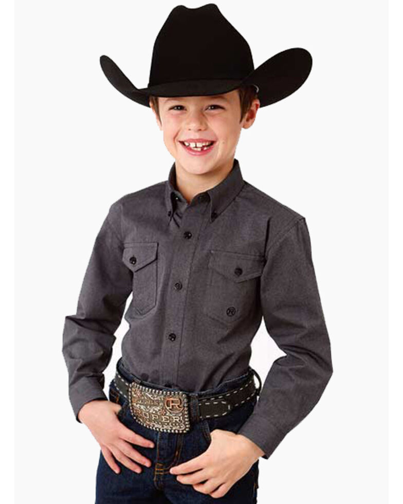 Roper Boys' Solid Button Long Sleeve Western Shirt , Grey, hi-res