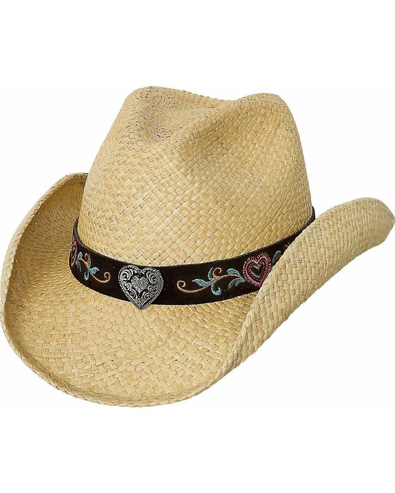 Bullhide Women's Crazy For You Panama Western Straw Hat, Natural, hi-res