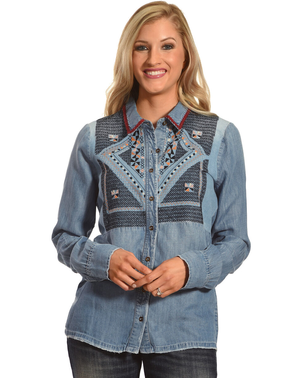 Mm Vintage Women S Embroidered Denim Shirt Country Outfitter