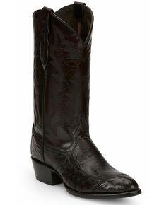 Tony Lama Men's Black Cherry Ostrich Western Boots - Round Toe, Black, hi-res