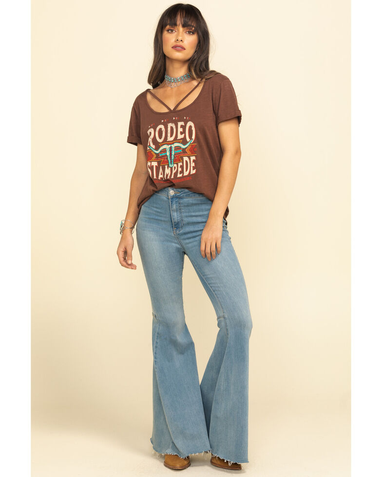 White Label by Panhandle Women's Brown Rodeo Stampede Top, Brown, hi-res