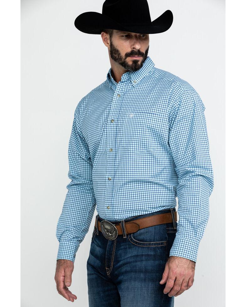 Ariat Men's Adamson Stretch Plaid Long Sleeve Western Shirt - Big , Blue, hi-res