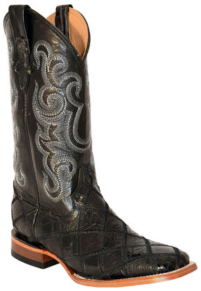 Ferrini Men's Gator Ostrich Patchwork Cowboy Boots - Wide Square Toe, Black, hi-res
