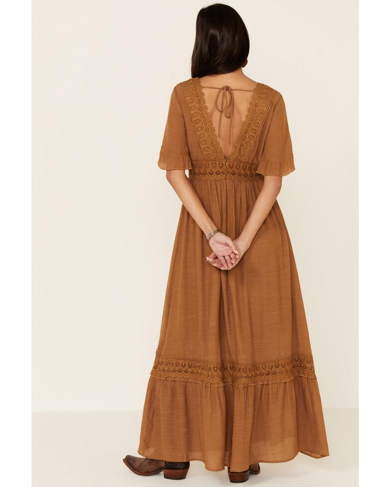 Wishlist Women's Lace Trim Maxi Dress, Mustard, hi-res