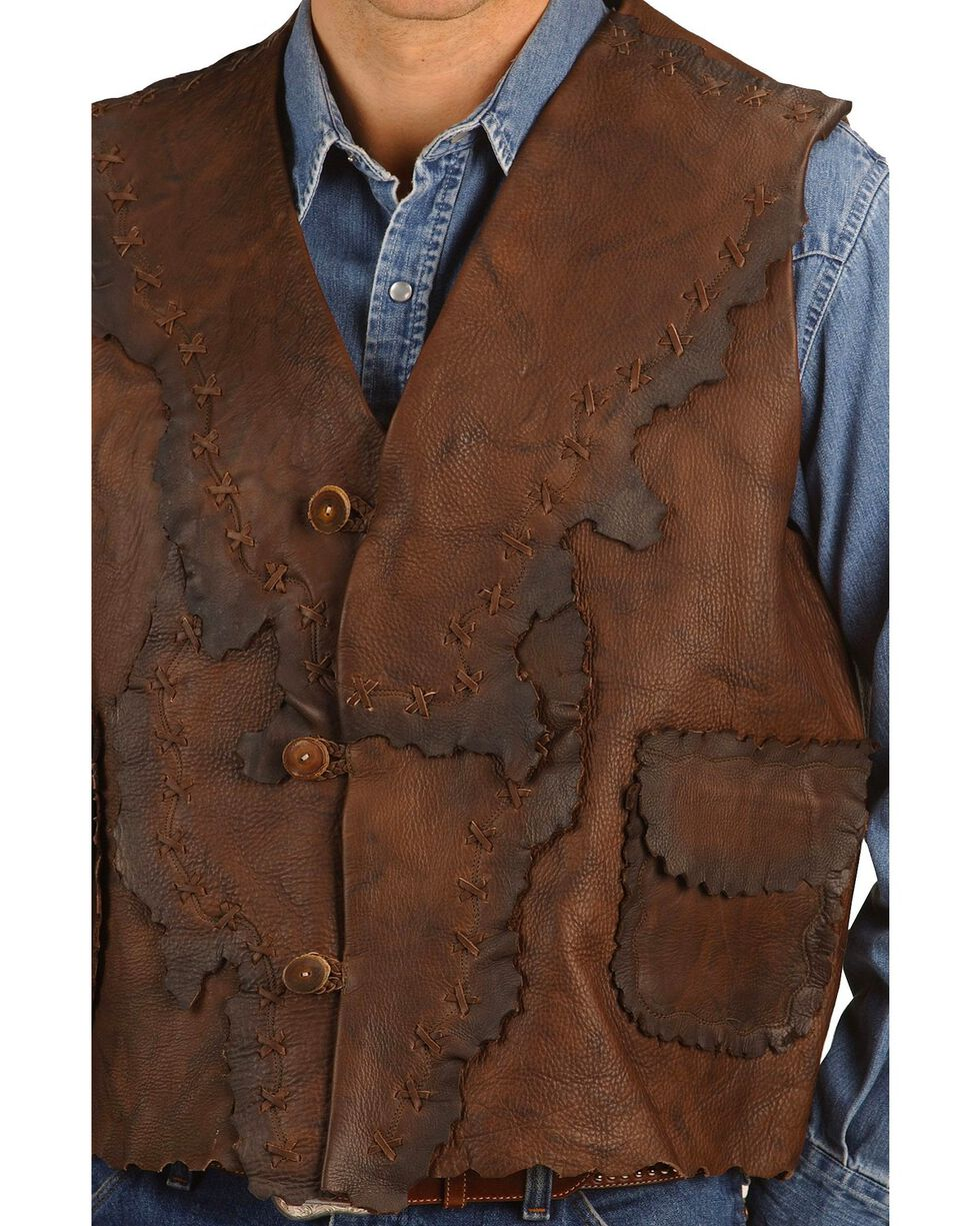 Kobler Antiqued Leather Vest, Brown, hi-res
