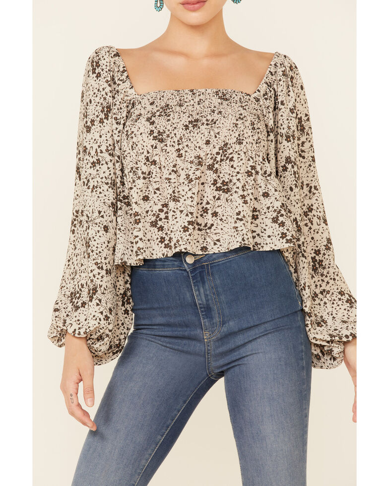 By Together Women's Floral Print Smocked Long Sleeve Crop Top , Taupe, hi-res