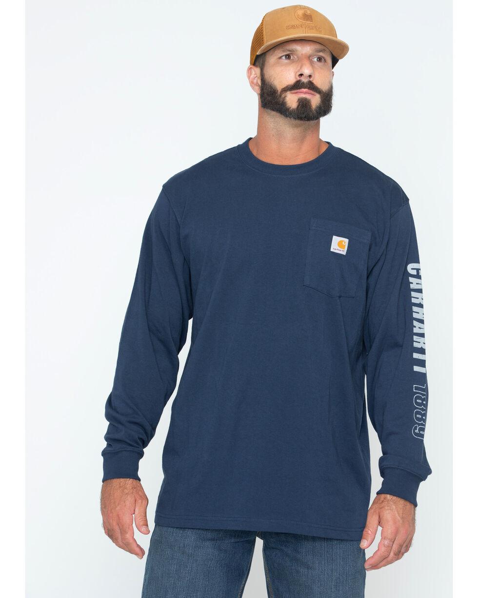 Carhartt Men's Exclusive Graphic Sleeve Work Shirt, Navy, hi-res