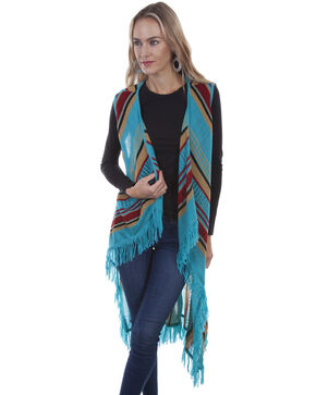 Honey Creek by Scully Women's Turquoise Fringe Sweater Vest, Turquoise, hi-res
