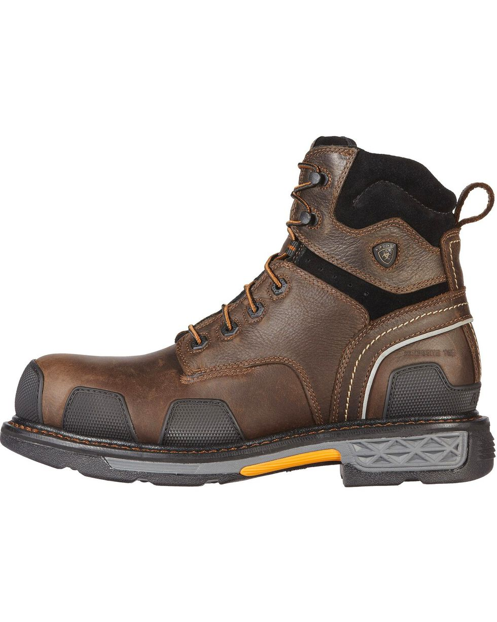 """Ariat Overdrive 6"""" Lace-Up Work Boots - Composite Toe, Dark Brown, hi-res"""