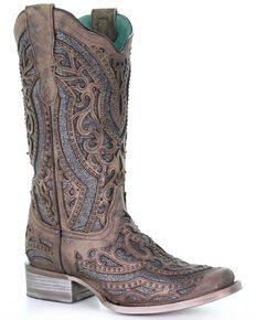 Corral Women's Brown Inlay & Flower Embroidery Western Boots - Square Toe, Brown, hi-res