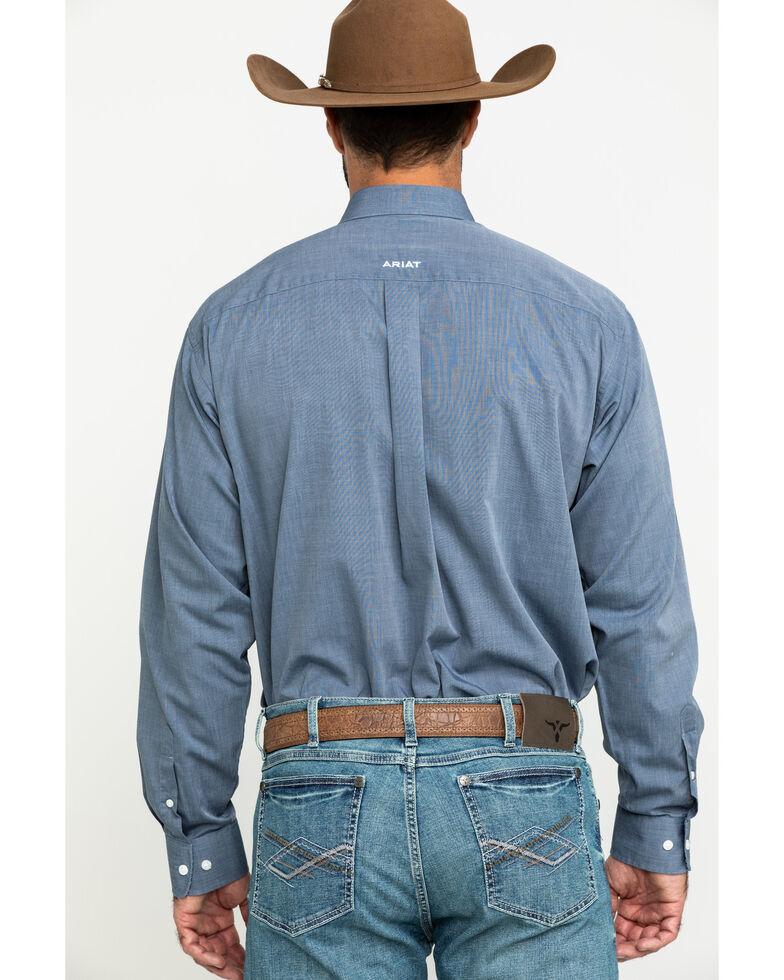 Ariat Men's Wrinkle Free Oxford Solid Long Sleeve Western Shirt , Navy, hi-res