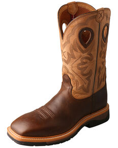 Twisted X Men's Lite Cowboy Work Boots - Steel Toe , Brown, hi-res