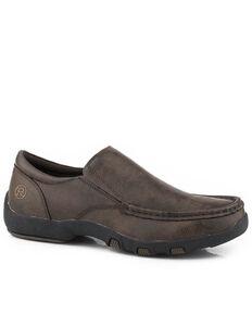 Roper Men's Faux Leather Driving Shoes - Moc Toe, Brown, hi-res