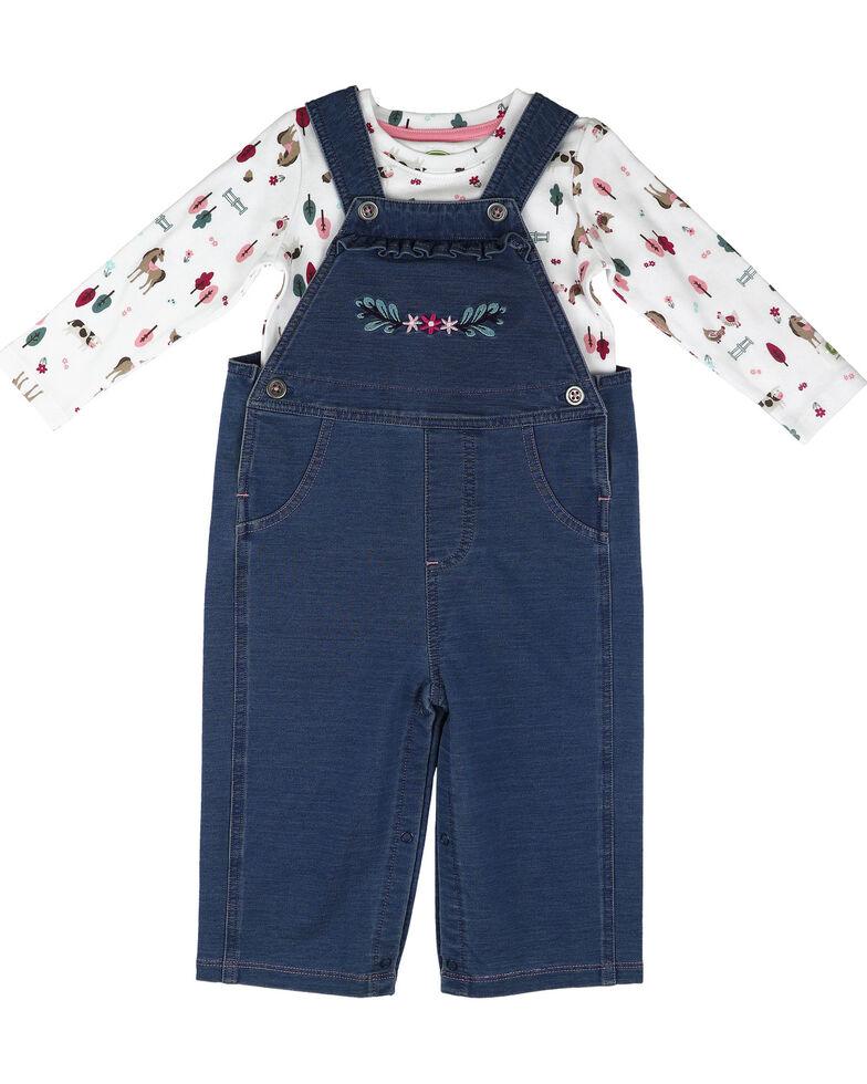 John Deere Infant Girls' White Farm Scene Overalls Set , Blue/white, hi-res