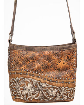 Shyanne Women's Metallic Tooled Filigree Edge Crossbody, Brown, hi-res