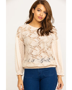 Mystree Women's Blush Allover Lace Dobby Chiffon Top, Blush, hi-res