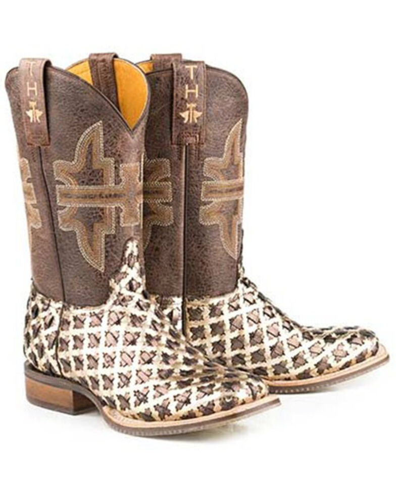 Tin Haul Women's 3D Cross Western Boots - Wide Square Toe, Brown, hi-res