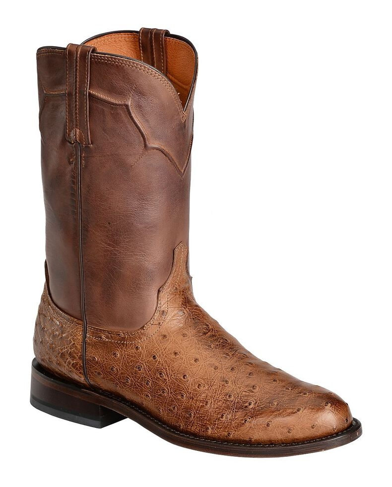 Lucchese Handmade Full Quill Ostrich Napoli Roper Cowboy Boots, Tan, hi-res