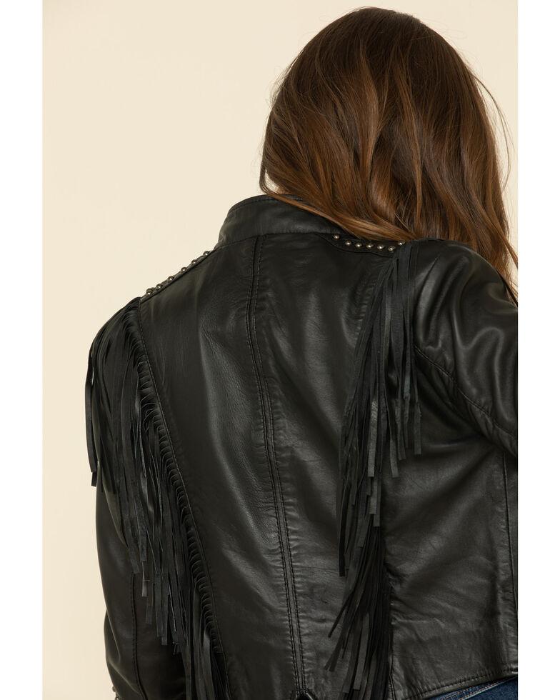 Liberty Wear Women's Black Fringe Snap Sheep Napa Jacket , Black, hi-res