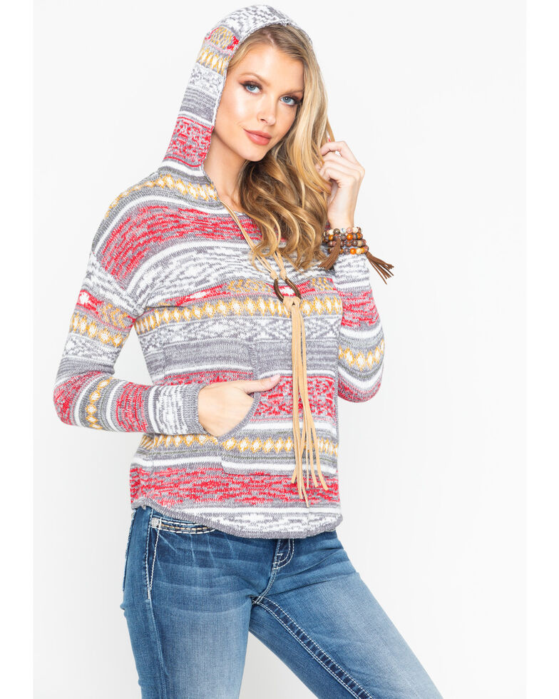 Rock and Roll Cowgirl Women's Aztec Pullover Hoodie Sweater, Multi, hi-res
