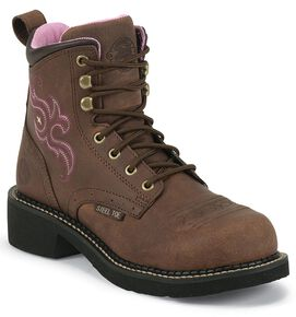 "Justin Gypsy Women's 6"" Katerina Aged Bark Lace-Up EH Work Boots - Steel Toe, Aged Bark, hi-res"