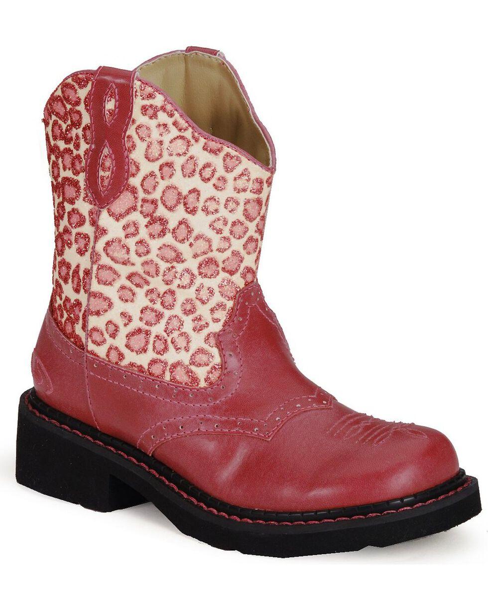Roper Girls' Leopard Print Pink Cowboy Boots - Round Toe, Pink, hi-res