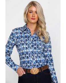 Rock & Roll Cowgirl Women's Aztec Print Long Sleeve Western Shirt , Blue, hi-res