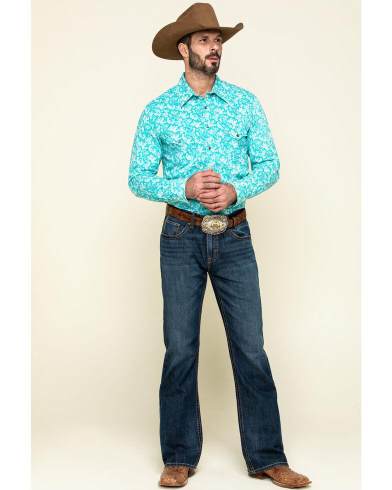 Rock & Roll Denim Men's Turquoise Paisley Print Long Sleeve Western Shirt , Teal, hi-res