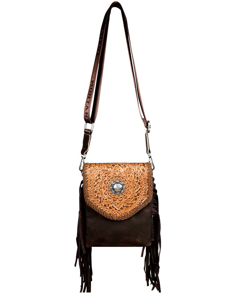Montana West Women's Dakota Tooled Crossbody Bag, Coffee, hi-res