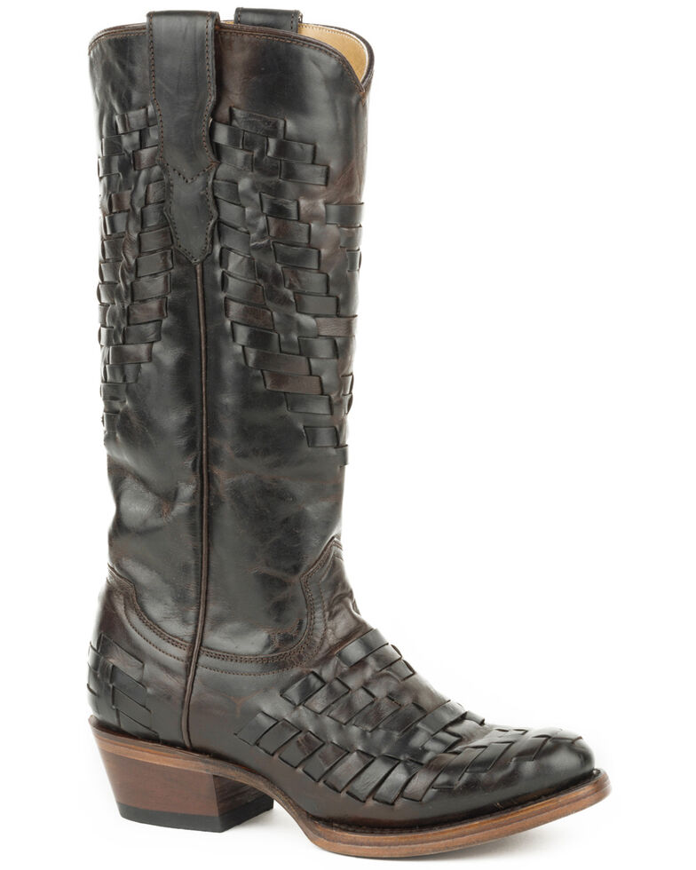 Stetson Women's Brown Paola Basketweave Boots - Round Toe , Brown, hi-res