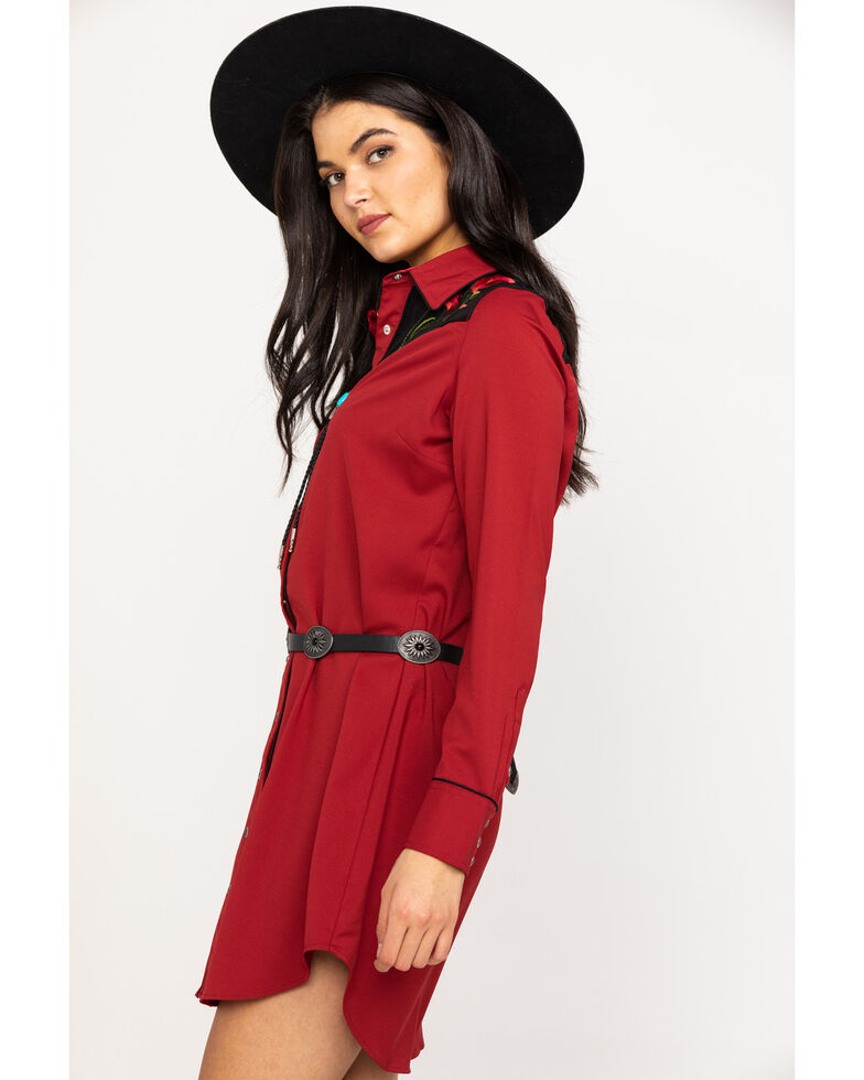 Roper Women's Rose Embroidered Vintage Shirt Dress , Red, hi-res