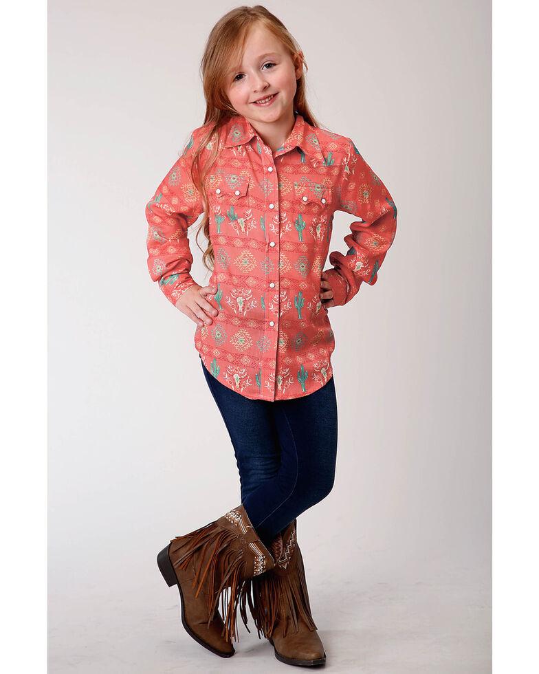Roper Girls' Coral Aztec Cactus Print Long Sleeve Snap Western Shirt , Coral, hi-res