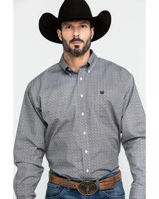 Cinch Men's Light Blue Geo Print Button Long Sleeve Western Shirt , Light Blue, hi-res