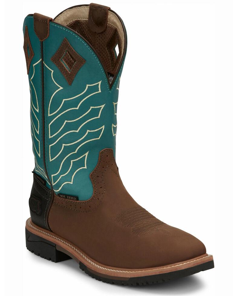 Justin Men's Derrickman Western Work Boots - Steel Toe, Lt Brown, hi-res