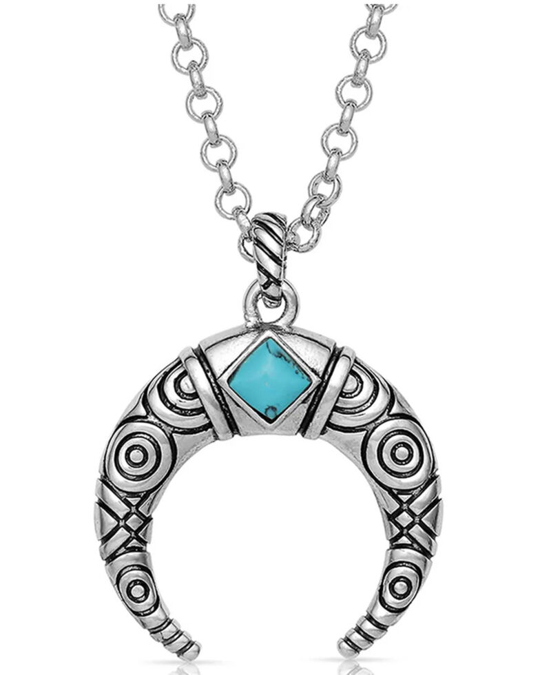 Montana Silversmiths Women's Eye In The Sky Crescent Necklace, Silver, hi-res