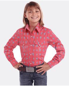 Panhandle Girls' White Label Cactus Print Long Sleeve Western Shirt , Pink, hi-res