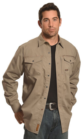 Ariat Men's Long Sleeve Work Shirt , Brown, hi-res
